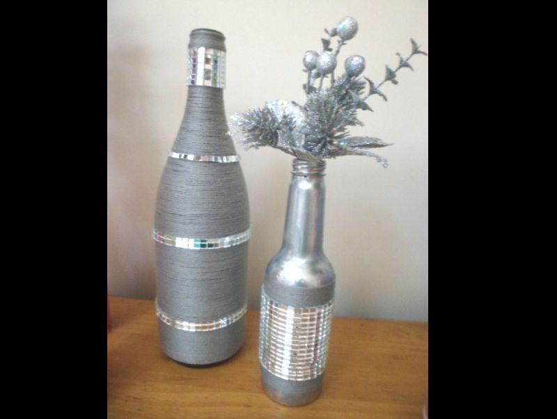 garrafa de vidro pintada prata