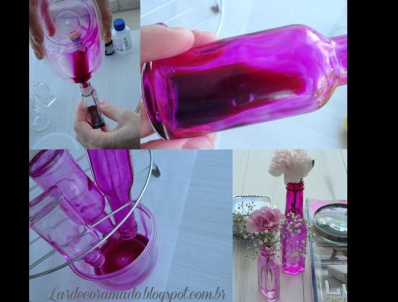 pintura com verniz vitral rosa