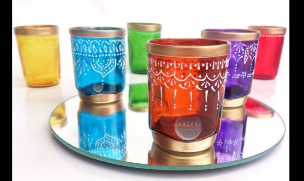 copo de vidro decorado com tinta alto-relevo