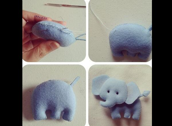artesanato em feltro elefante