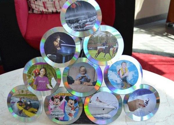 Artesanato com CD antigo com foto