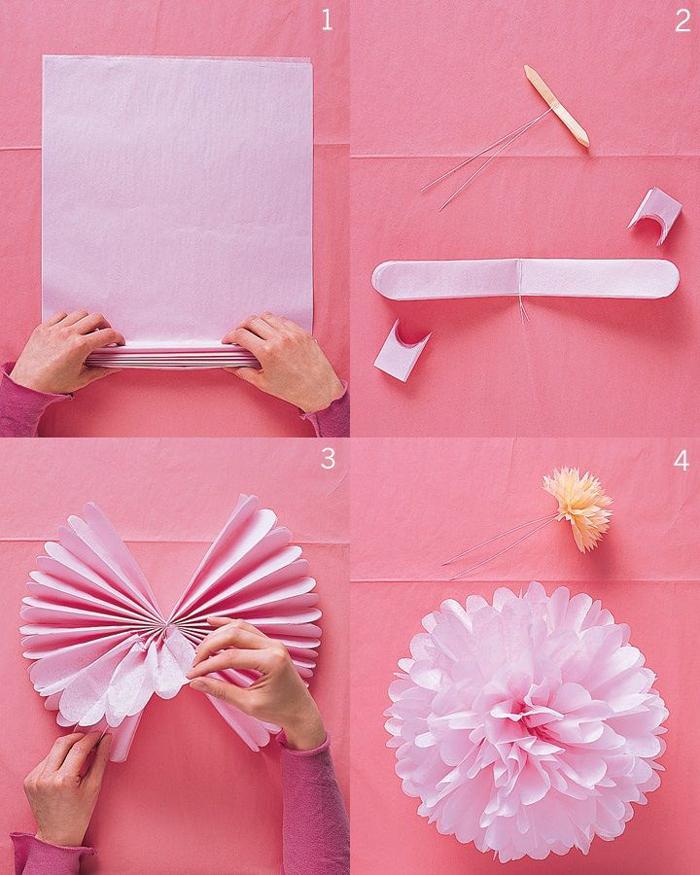 pompom de papel de seda passo a passo