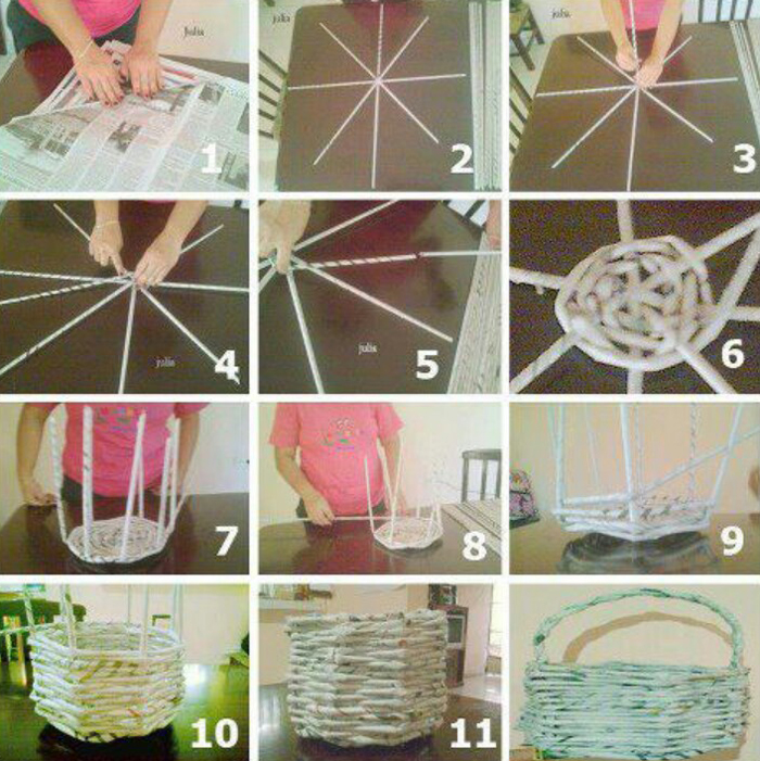 Como fazer cesta de jornal artesanato passo a passo - Manualidades con papel periodico paso a paso ...