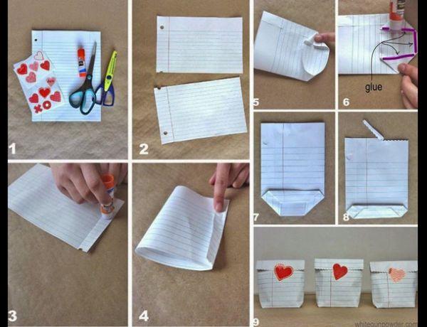 embalagem de presente com folha de caderno