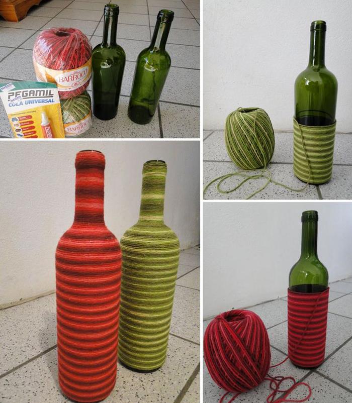 decoração de garrafa com barbante mesclado