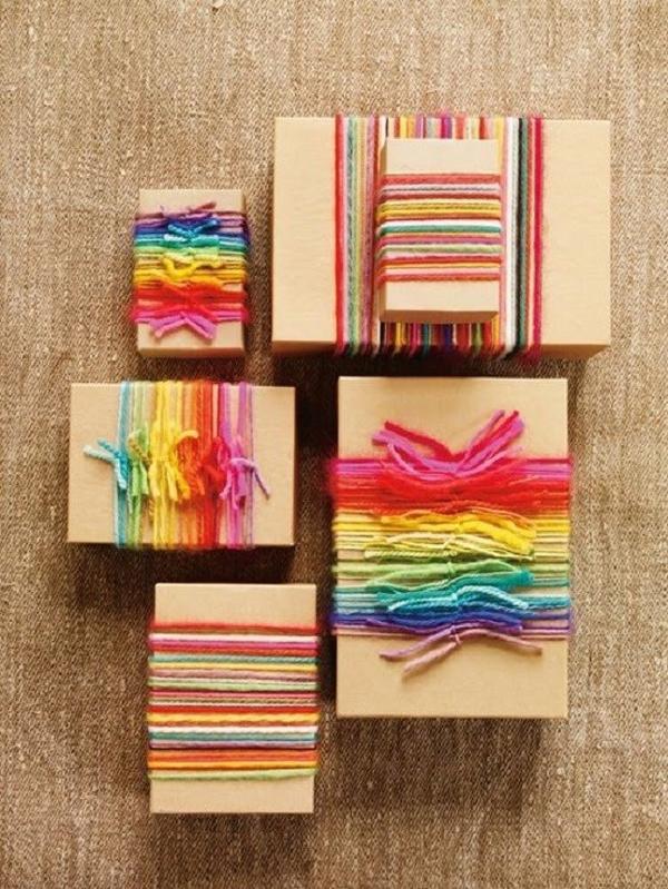 embalagem de presente com lã