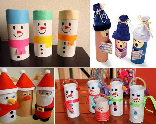enfeite natalino com rolo de papel higienico