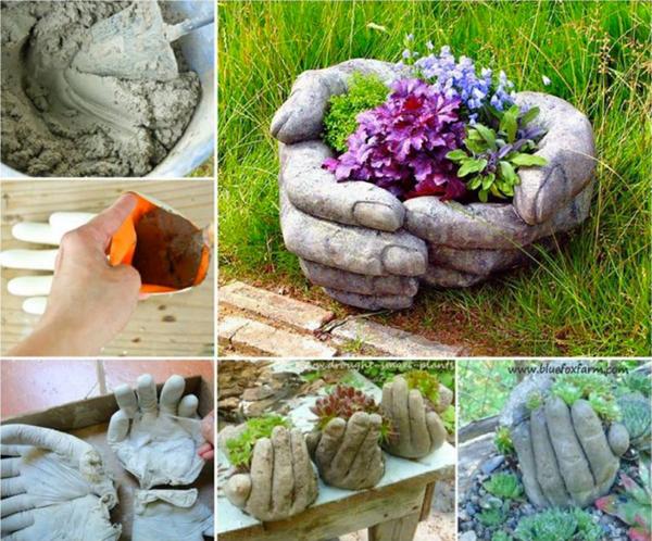 vaso de concreto com mão