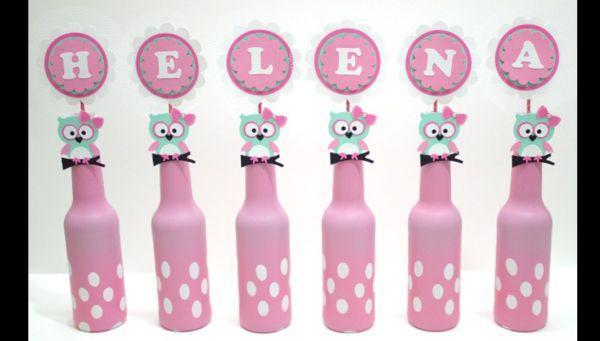 garrafa decorada rosa