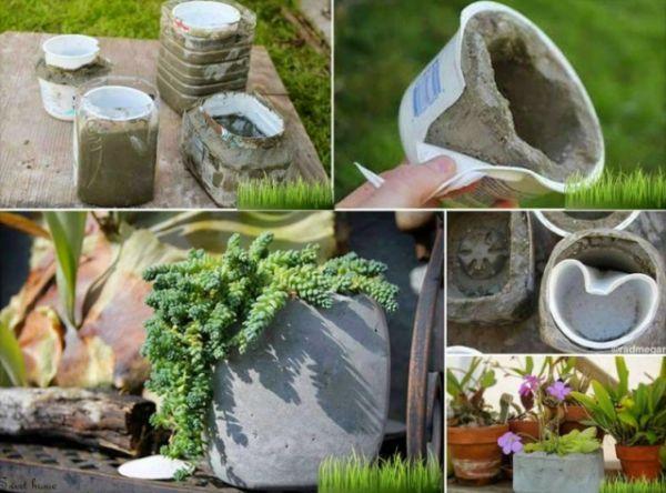 vaso de concreto com coração