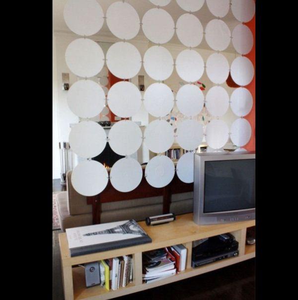Artesanato com CD antigo cortina com tecido