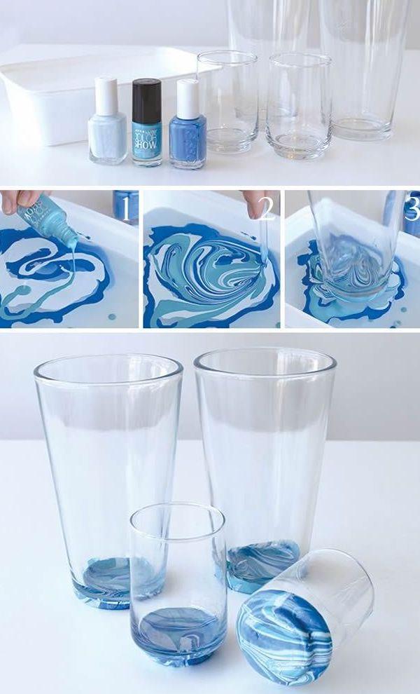 esmaltes no copo de vidro decorado