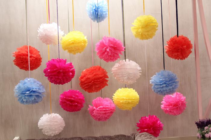 decoração pompom de papel de seda