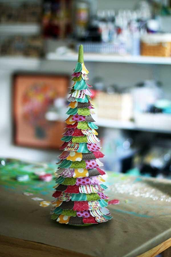 enfeite natalino arvore de papel