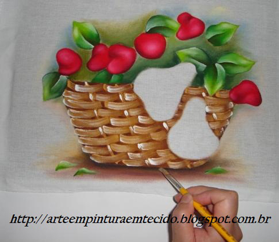 pintura em pano de prato cesta