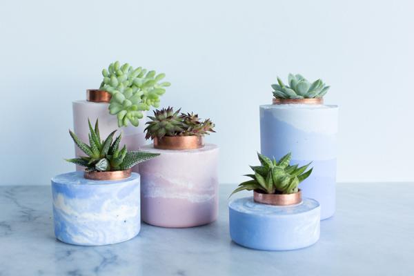 vaso de concreto com renda