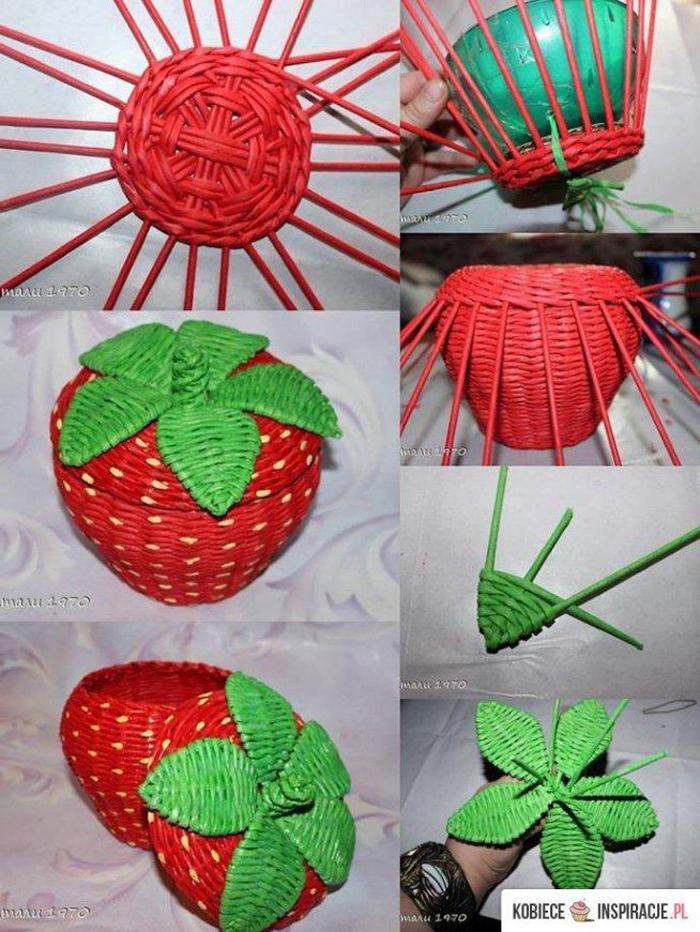 cestaria de jornal de morango