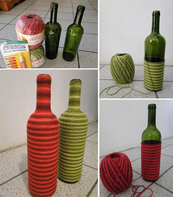garrafa decorada com lã