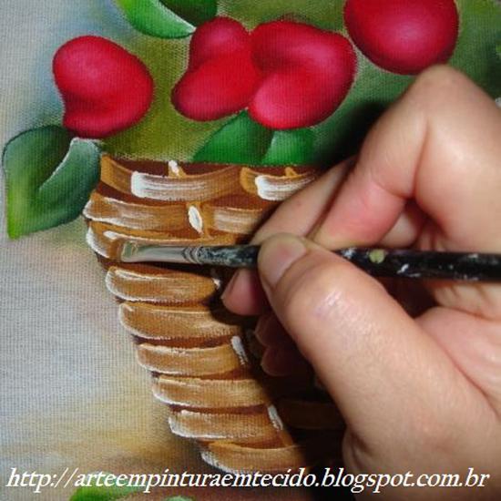pintura em pano de prato morangos