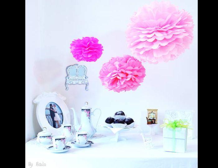 pompom de papel de seda pink