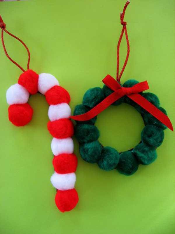 enfeite natalino com pompom