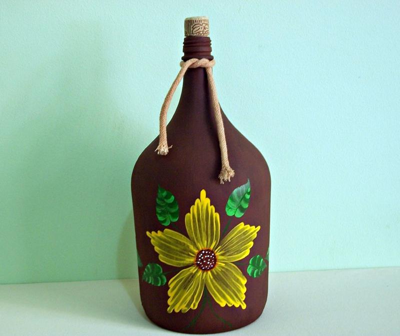 garrafa de vidro pintada girassol