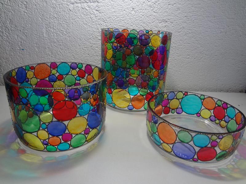 copo com pintura com verniz vitral