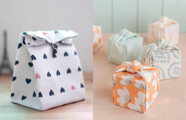 embalagem de presente com tecido