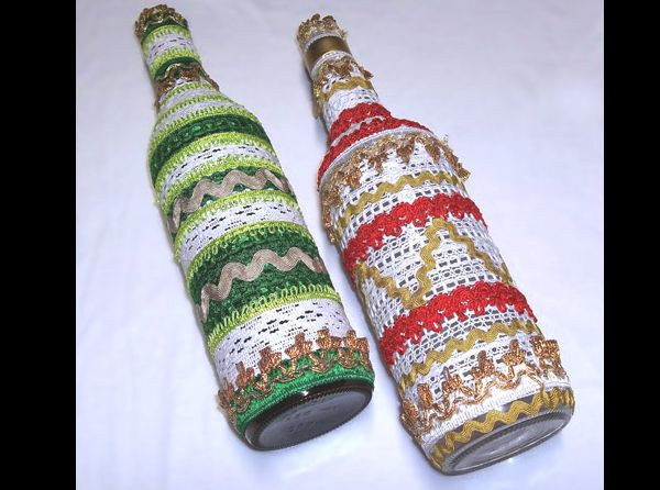 garrafa decorada com passamanaria
