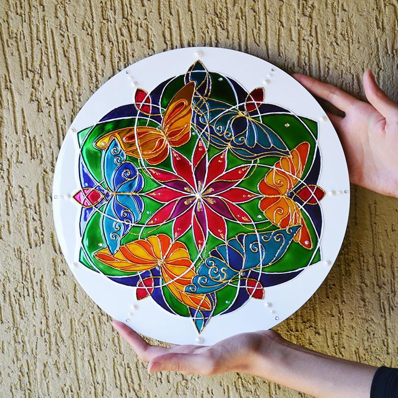 pintura com verniz vitral mandala