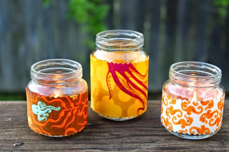 pote de vidro decorado com tecido facil