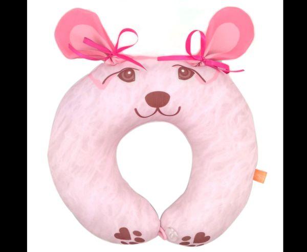 almofada artesanal de pescoço urso