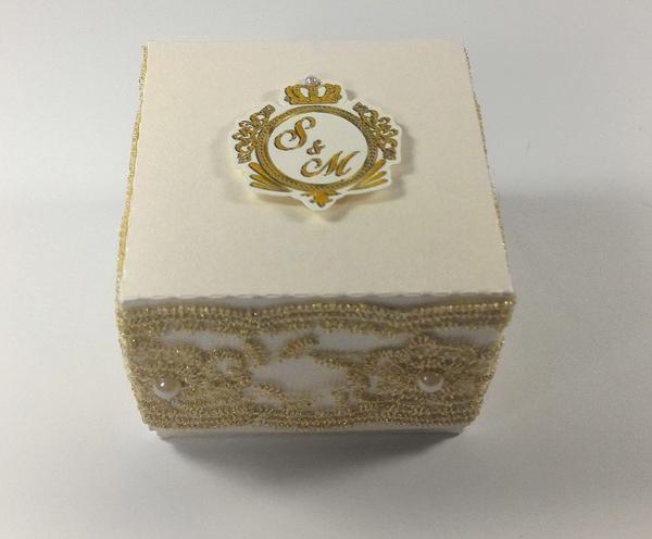 caixa de lembrancinha de papel com renda