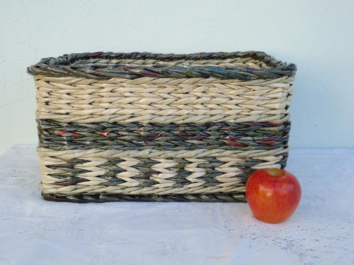 cestaria de jornal com tranças