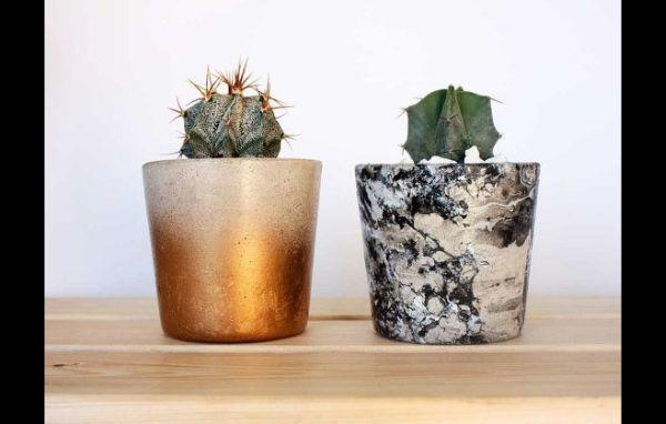vaso de concreto com pintura