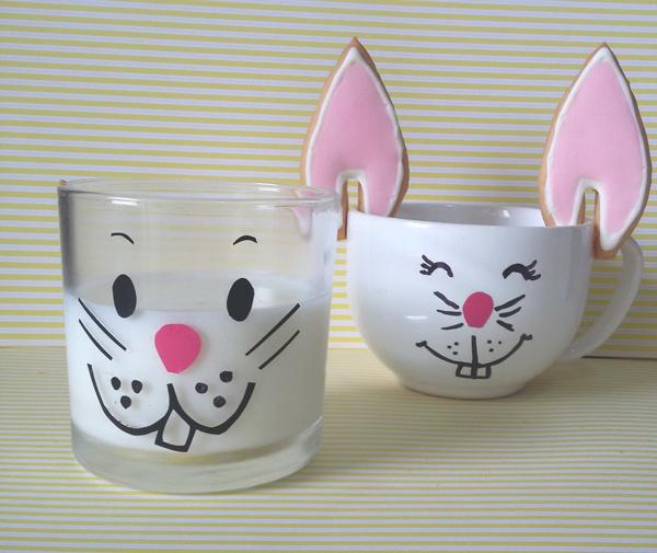 copo de vidro decorado com coelho