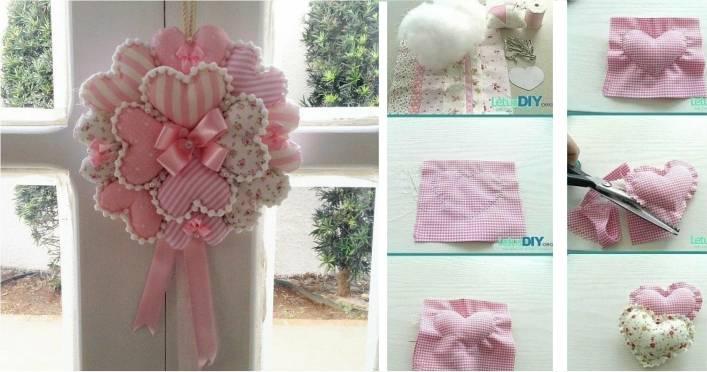 coração de tecido rosa