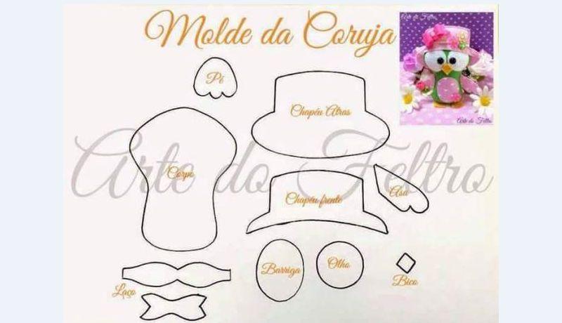 molde de corujinha com chapeu