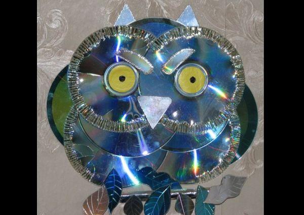 Artesanato com CD antigo coruja