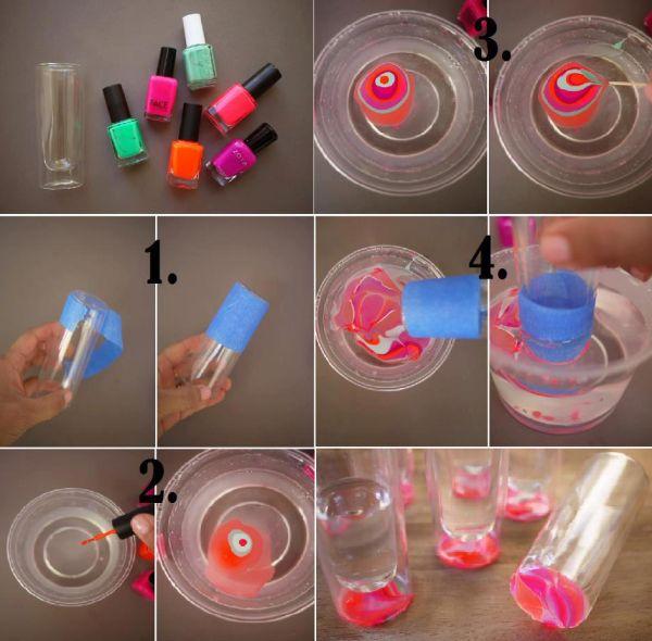 copo de vidro decorado com esmaltes