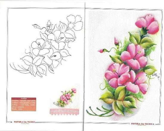 pintura em pano de prato flores