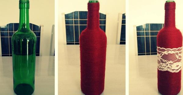 garrafa decorada com lã e renda