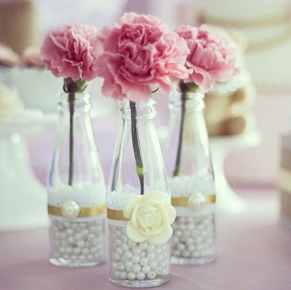garrafa decorada com perolas