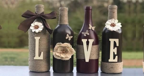 como decorar garrafas com barbante