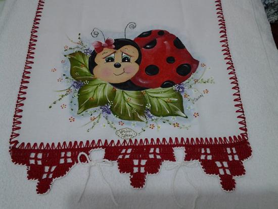 pintura em pano de prato joaninha