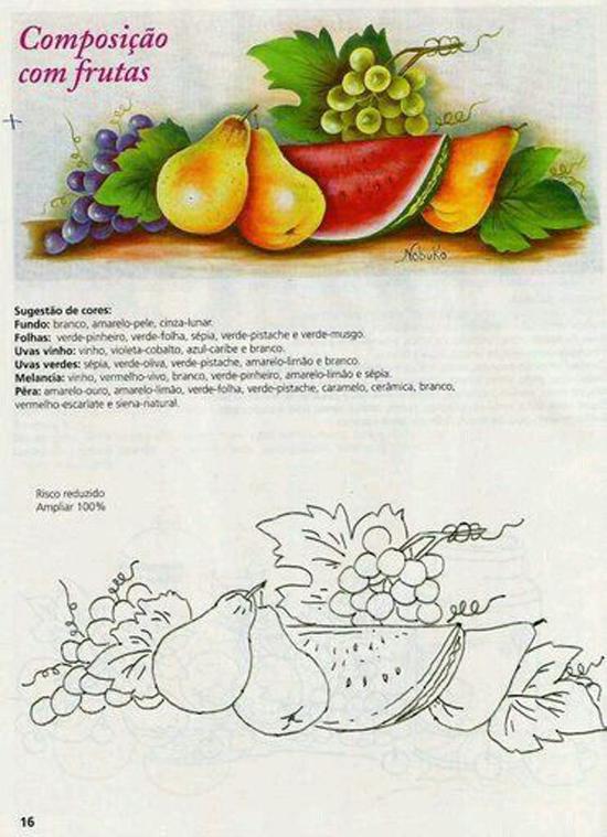 pintura em pano de prato uvas