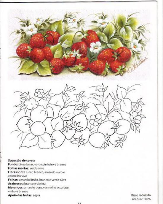 pintura em pano de prato cereja