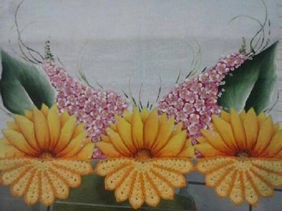 pintura em pano de prato girassol