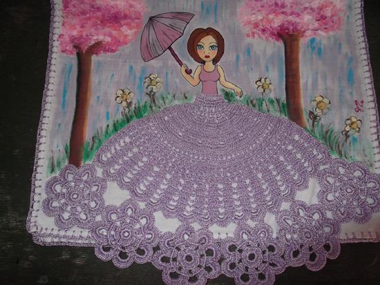 pintura em pano de prato boneca