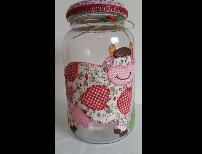 pote de vidro decorado com tecido patchwork